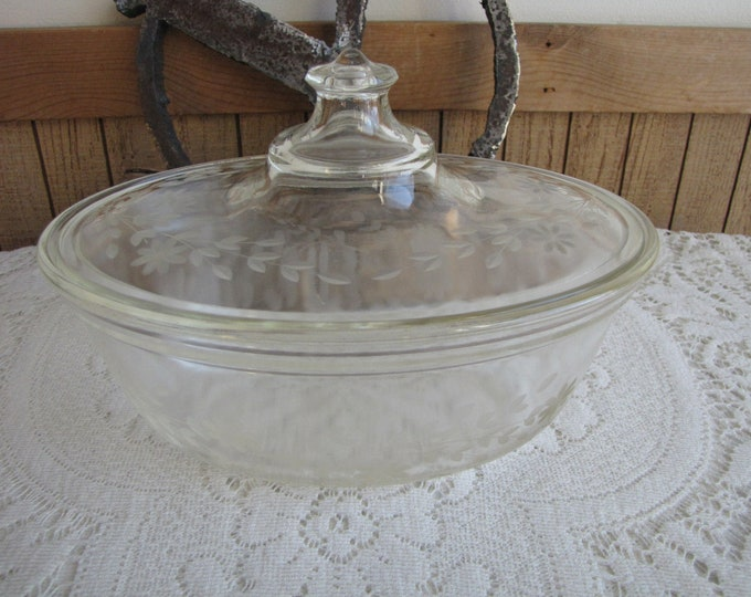 Pyrex Etched Casserole Dish Vintage Cook and Ovenware Custom Made for Faberware