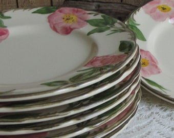 Franciscan Desert Rose Salad Plates Set of Eight (8) Vintage Dinnerware and Replacements 1970s California Pottery