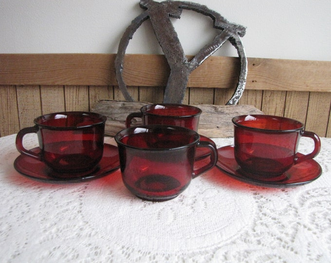 Arcoroc Red Glass Cups and Saucers Made in France Vintage Dinnerware and Replacements Four (4) Cups and Three (3) Saucers