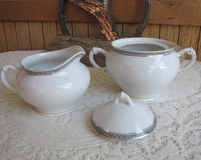 Royal Austrian Porcelain Cream and Sugar O&EG Greek Key Pattern 1900s Vintage Dinnerware and Replacements