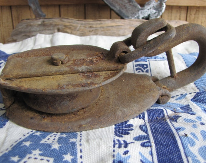 Vintage Rusty Flat Pulley Industrial Salvage and Implements