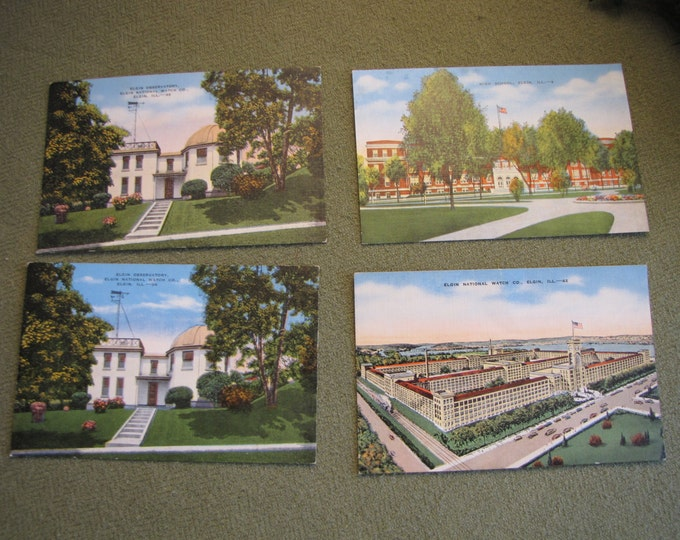 Vintage Elgin Watch Factory Postcard Four (4) Cards Depicting Landmarks in Elgin, IL
