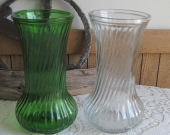 Hoosier Glass vases set of 2 green and clear vintage florist ware
