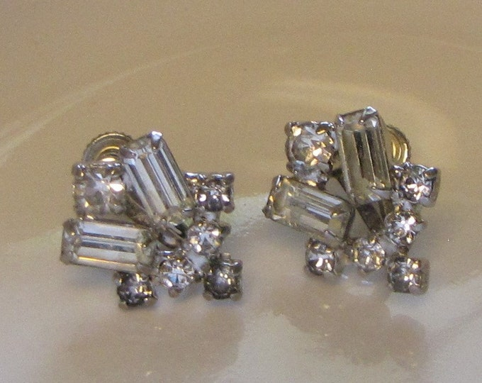 Art Deco Rhinestone Earrings (Screw Backs) Vintage Jewelry and Accessories