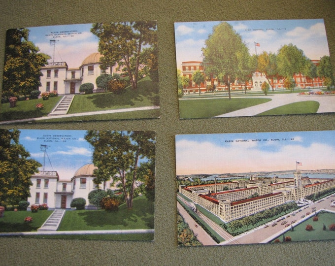 Vintage Elgin Watch Factory colored postcards and other Elgin IL landmarks