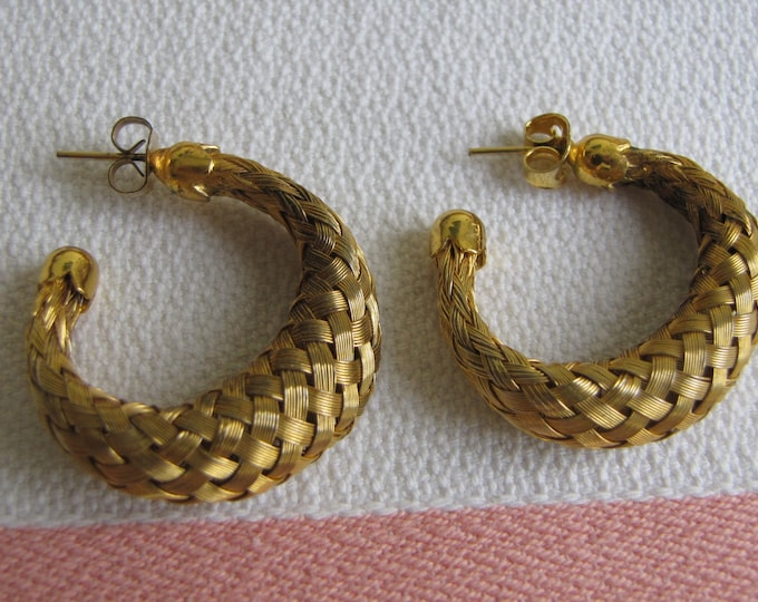 Gold Toned Woven Hoop Earrings Vintage Jewelry and Accessories