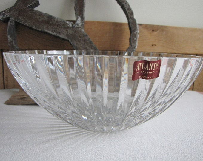 Vintage Atlantis Crystal Bowl Fantasy Pattern Cut Glass Made in Portugal