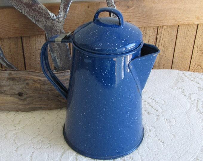 Blue Speckled Enamelware Coffee Pot Vintage Camping Gear and Kitchens