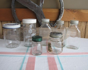 Old Jar Lot Set of Seven (7) Jars Vintage Containers and Storage