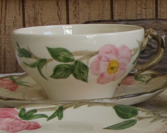 Franciscan Desert Rose Cups and Saucers 1960-1970s Vintage Dinnerware and Replacement Set of Three (3) Cups and A Saucer
