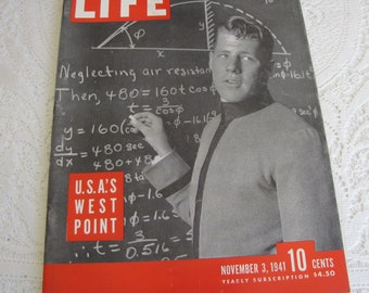 Life Magazines 1941 November 3 U.S.A.'s West Point Vintage Magazines and Advertising