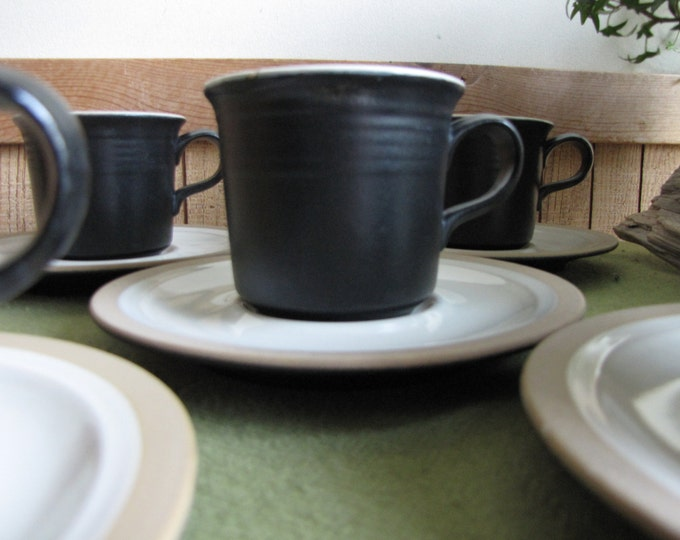 Vintage Franciscan Gourmet Cups and Saucers California Pottery 1971 Set of Five (5)