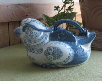 Vintage Blue and White Bird Teapot