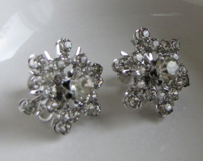 CORO Rhinestone Snowflake Earrings Screw Backs Vintage Holiday Jewelry and Accessories