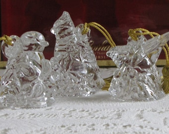 Gorham Holiday Birds crystal ornaments Vintage Christmas Tree Ornaments