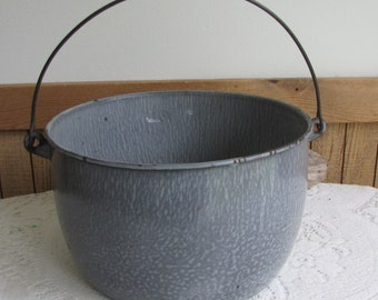 Enamel Bucket Metal Gray Speckled Vintage Rustic Farmhouse Salvage