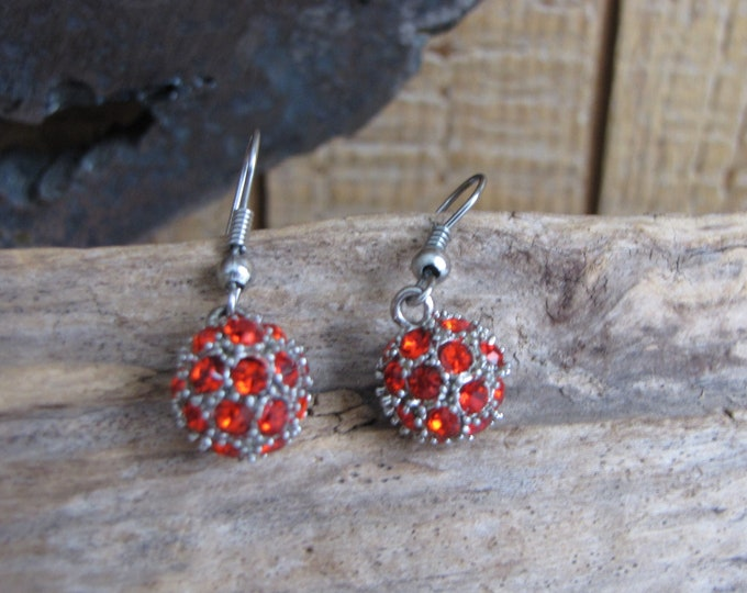 Red Ball Earrings Vintage Jewelry and Accessories