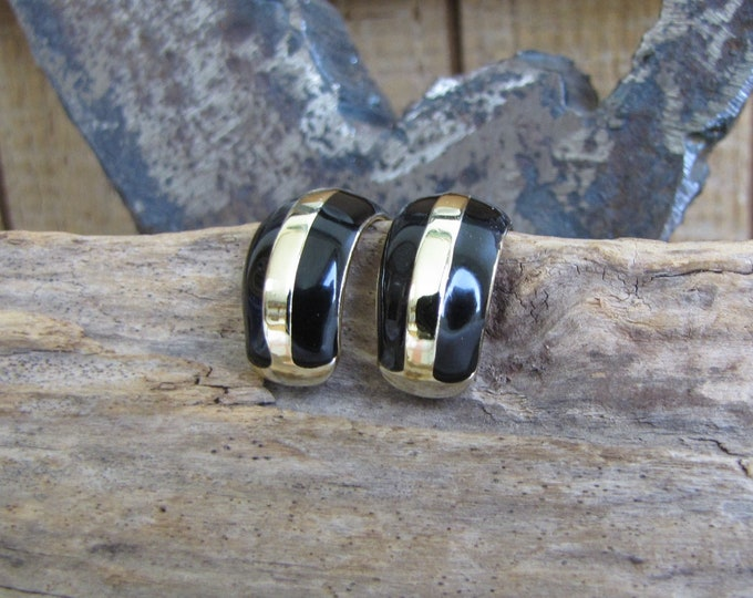 Black and Gold Hoop Earrings Vintage Jewelry and Accessories