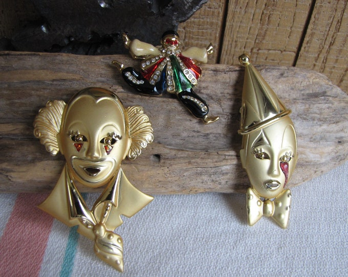 Clown Brooches Lot of 3 Lapel pins Vintage Jewelry and Accessories Gold Toned