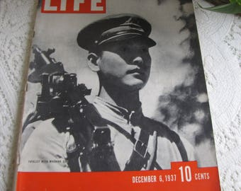 Life Magazines 1937 December 6 Fatalist with Machine Gun Vintage Magazines and Advertising