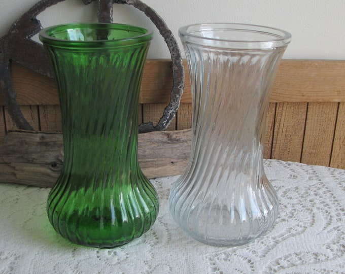 Hoosier Glass Vases Set of Two (2) Flower Vases Emerald Green and Clear Vintage Florist Ware