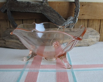 Vintage Pink Depression glass footed bowl Lancaster Glass Co. 1926-1937