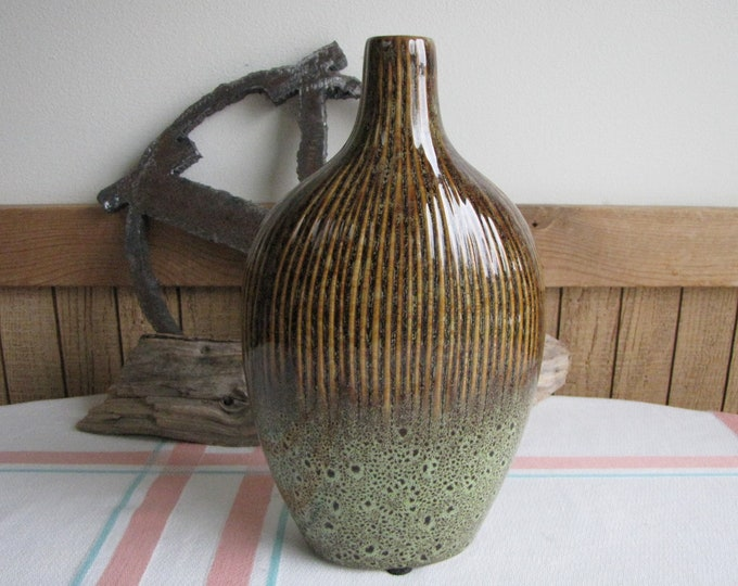 Green and Brown Pottery Jug Vintage Home Décor