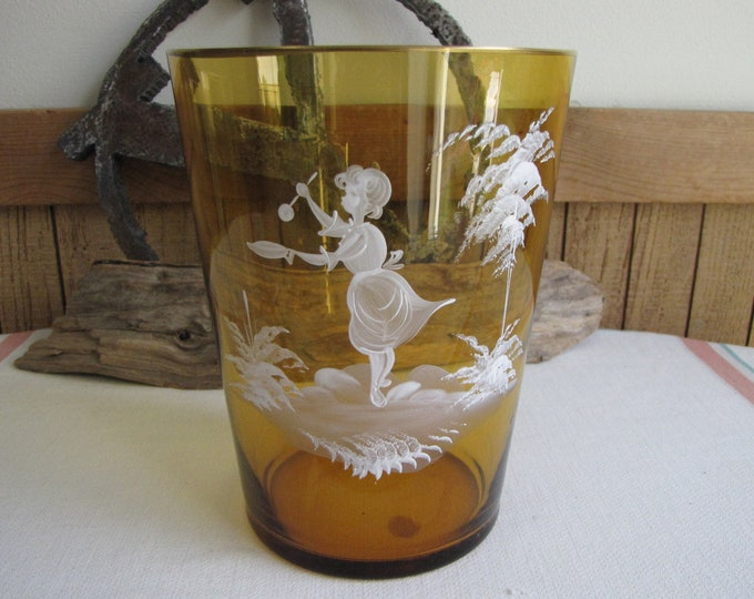 Yellow Glass Vase Hand Painted Girl with Spoon Vintage Florist Ware and Home Decor Mary Gregory Reproduction