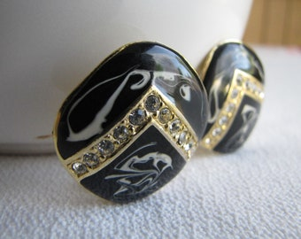Black and rhinestone earrings clip on vintage costume jewelry