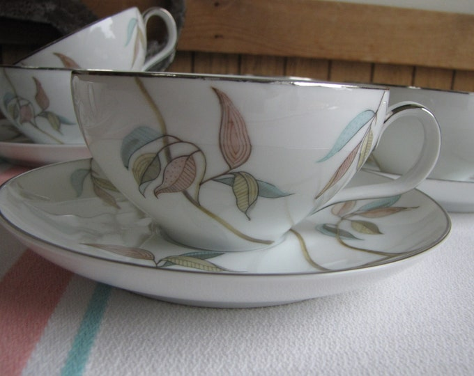 Tropic Leaves Cups and Saucers set of 7 by Fine China Japan Vintage Dinnerware and Replacements