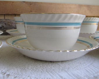 Johnson Bros. Tea Cups and Saucers Old English Set of Six (6) Circa 1945 Vintage Dinnerware and Replacements