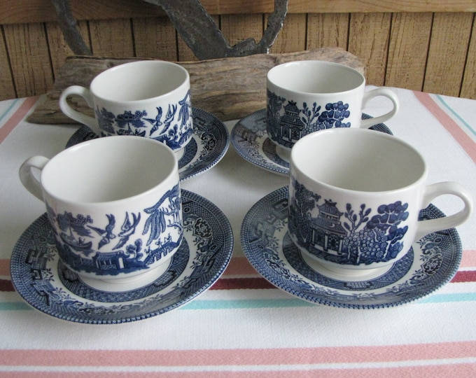 Blue Willow Cups and Saucers Churchill Vintage Dinnerware and Replacements Set of Four (4)