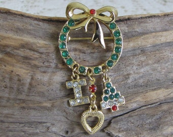 Wreath I Heart Christmas Brooch Vintage Holiday Jewelry and Accessories