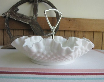 Fenton Milk Glass Hobnail Handled Tidbit Tray Vintage Dinnerware and Replacements