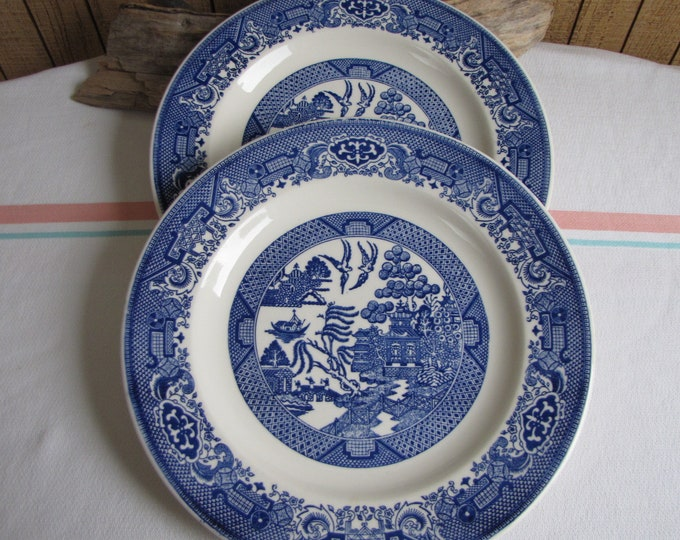 Blue Willow Dinner Plates Royal China Ironstone set of 2 Vintage Dinnerware and Replacements