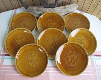 Franciscan Harvest Wheat Bread Plates Set of Eight (8) Vintage Dinnerware and Replacements 1951-1954