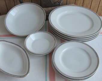 Royal Austrian porcelain set Greek Key 1899 to 1918 12 pieces Antiques Dinnerware and Replacements