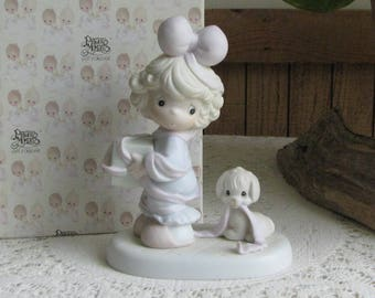 Precious Moments Tied Up For The Holidays Figurine Butterfly 1993 Symbol Retired