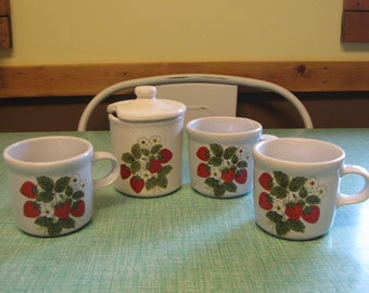 McCoy Strawberry Country Coffee Mugs Set of Three (3) and a Jam Jar 1970s Vintage Dinnerware and Replacements