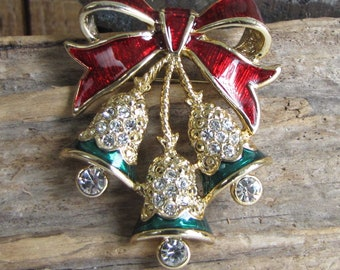 Rhinestone Christmas Bells Brooch Vintage Holiday Jewelry and Accessories