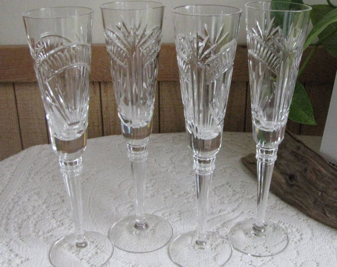 Lenox Millennium Champagne Flutes Dawn of Millennia Set of Four (4) Crystal Glasses 1999 Vintage Barware