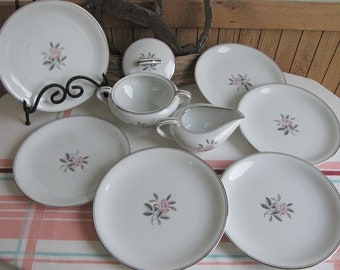 Noritake Rosales Salad Plates Plus Cream and Sugar Bowl Set of 8 (8) Vintage Dinnerware and Replacements 1956-1971
