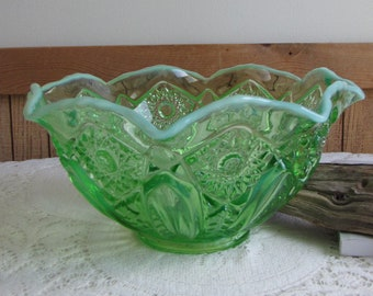 Green Depression Opalescent Glass Bowl Starbursts and Buttons Vintage Glass