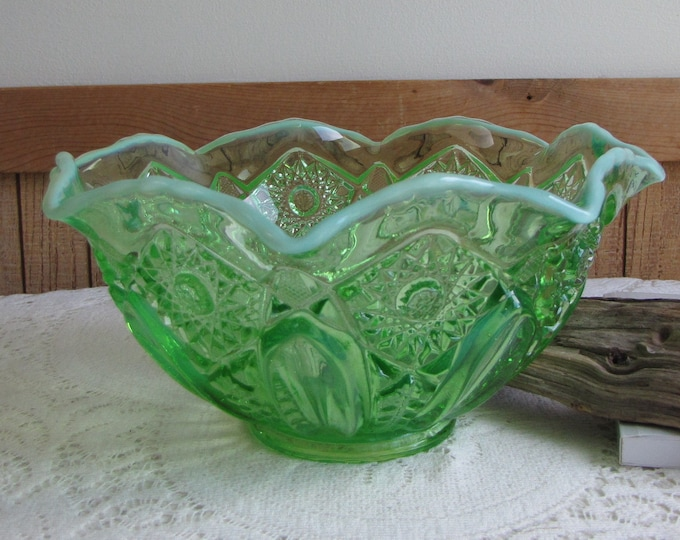 Green Depression Opalescent Glass Bowl Starbursts and Buttons Vintage Glass and Bowls