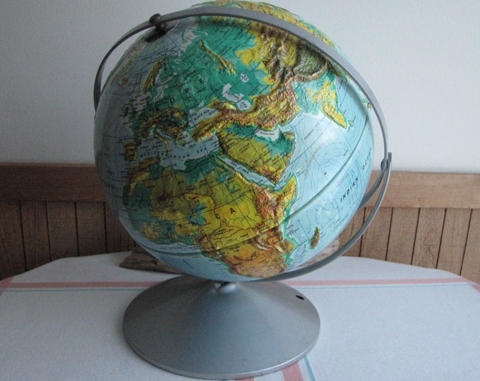 Nystrom World Globe Vintage Education and Geography 12 Inch Sculptural Relief Map