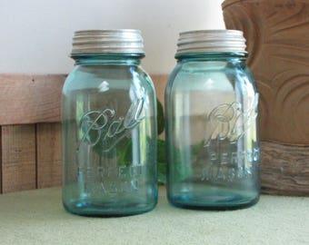 Blue Ball Mason Jars Set of Two (2) One Quart Canning or Fruit Jar 1910-1923