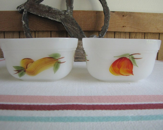 Fire King Fruit Small Bowls Vintage Dinnerware and Replacements Two (2) Prep or Refrigerator Bowls 1957 - 1968 Hand Painted