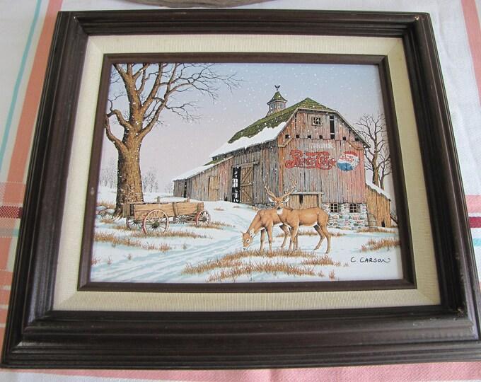 Pepsi Cola Barn Painting C. Carson Vintage Paintings and Home Decor Americana