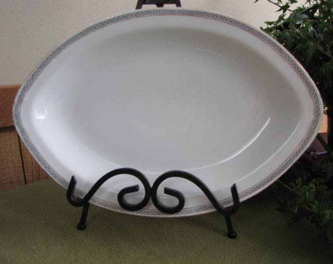 Royal Austrian Small Dinner Platter O&EG Greek Key Pattern  1900s Antique Porcelain Dinnerware