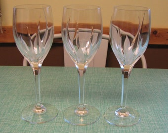 Mikasa Flame D'Amore Water Goblets Set of Three (3) Glasses Vintage Crystal and Barware